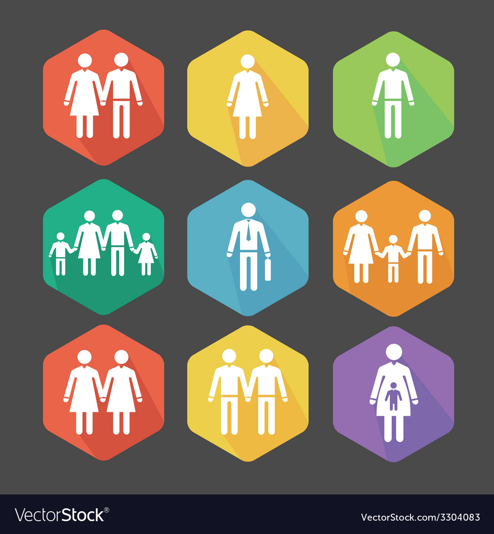 Flat icons the relations vector | Price: 1 Credit (USD $1)