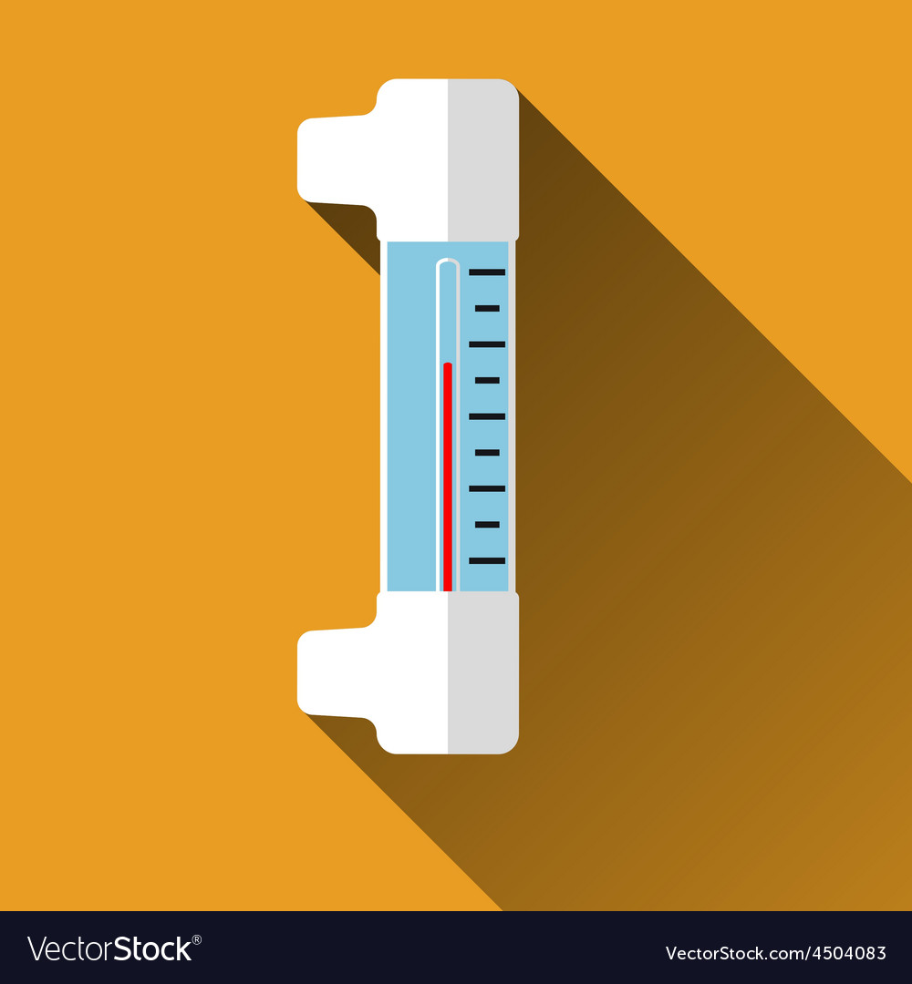 Thermometer flat icon with long shadows vector | Price: 1 Credit (USD $1)
