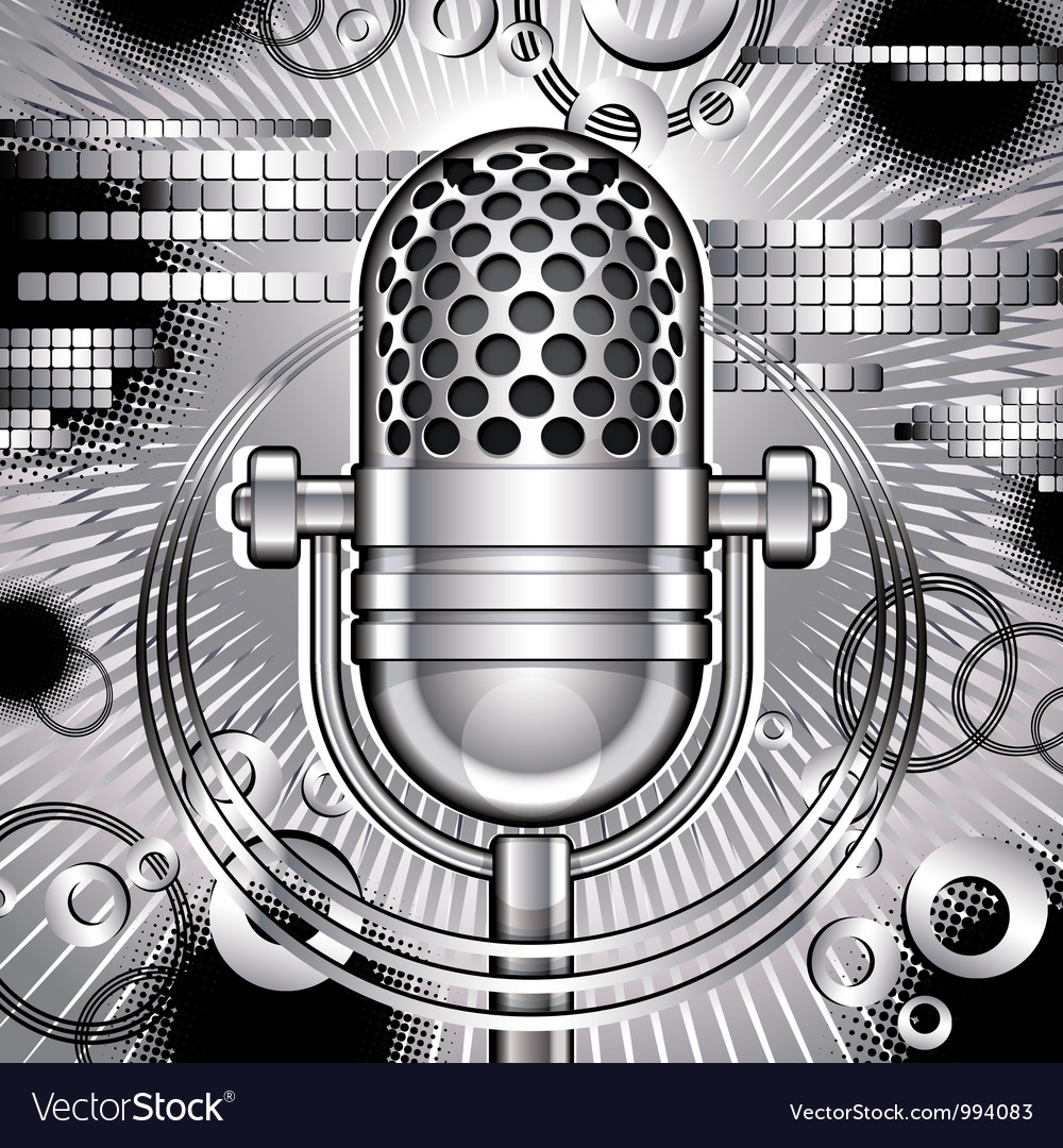 Music with microphone vector | Price: 1 Credit (USD $1)