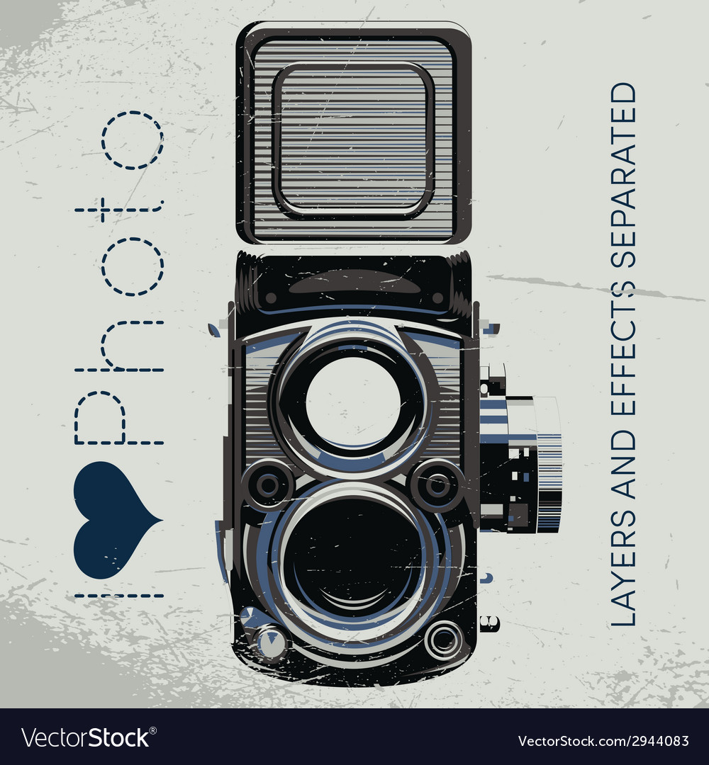 Retro poster with colored vintage camera vector | Price: 1 Credit (USD $1)