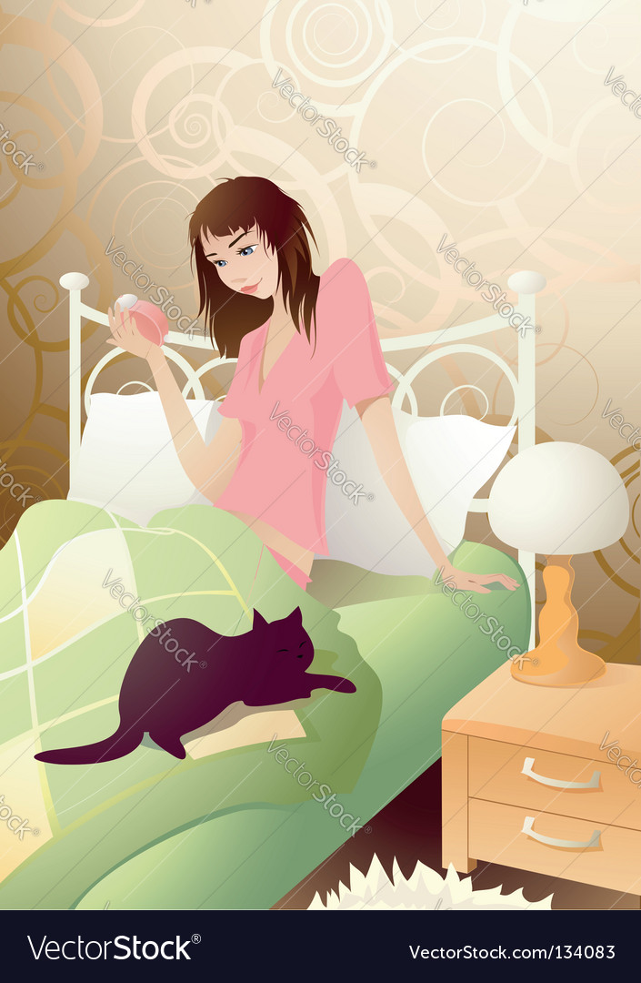 Young girl in the morning vector | Price: 3 Credit (USD $3)