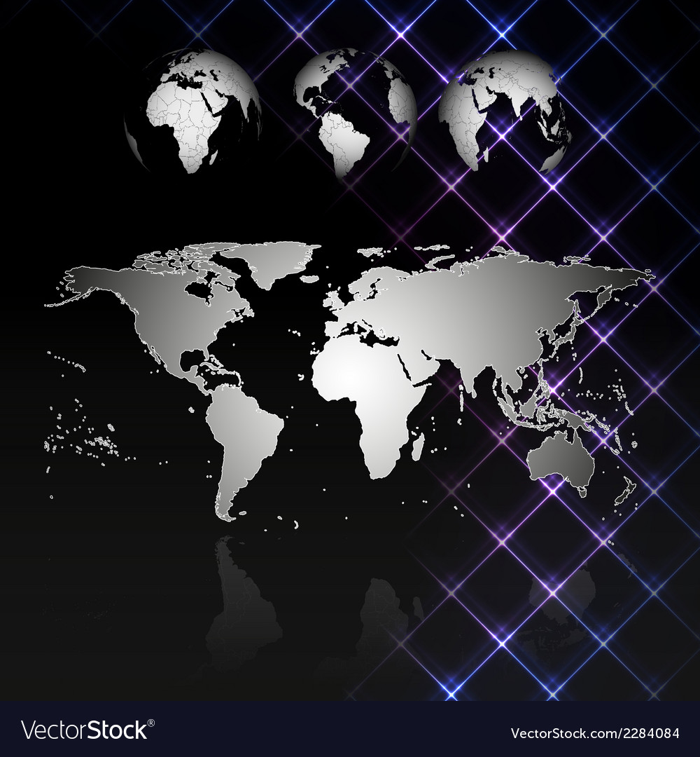 Abstract world map with shadow world globes vector | Price: 1 Credit (USD $1)