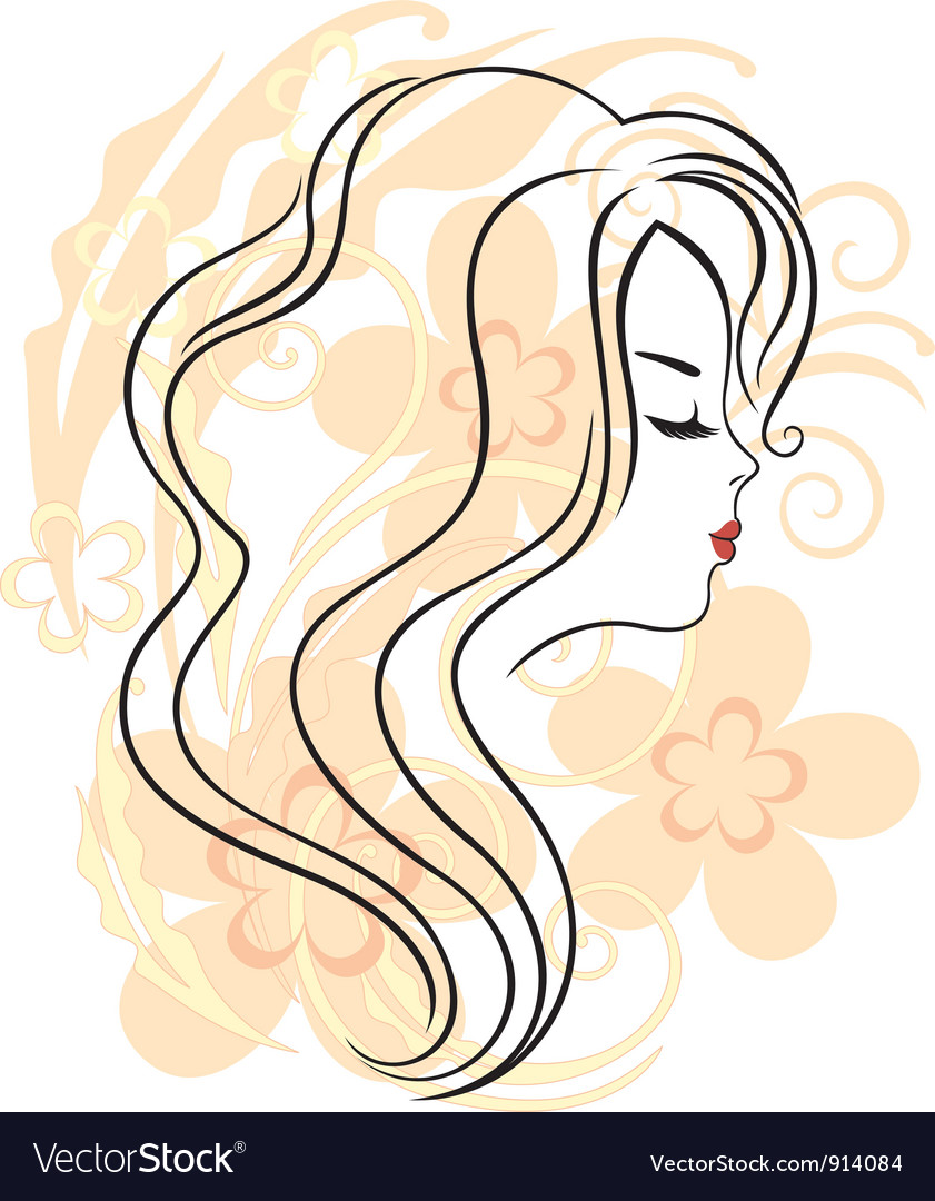 Beautiful girls face on the flower background vector | Price: 1 Credit (USD $1)