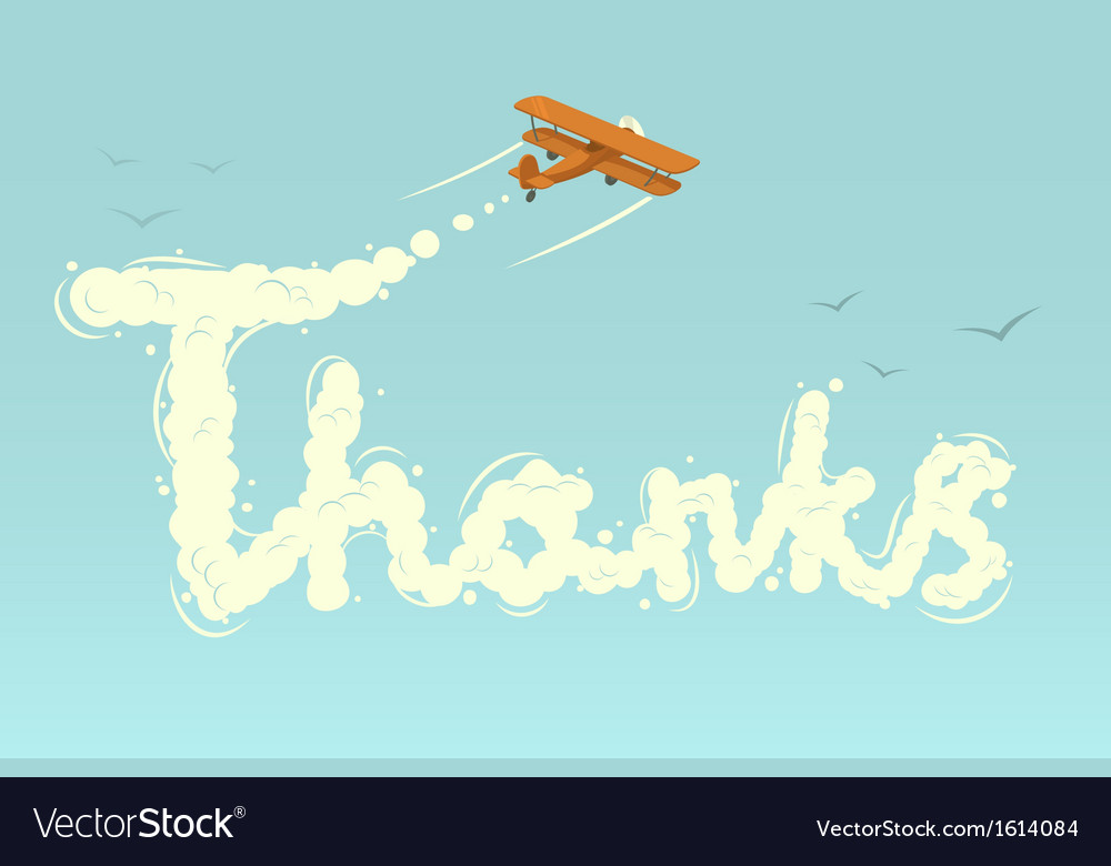 Biplane with word thanks vector | Price: 1 Credit (USD $1)