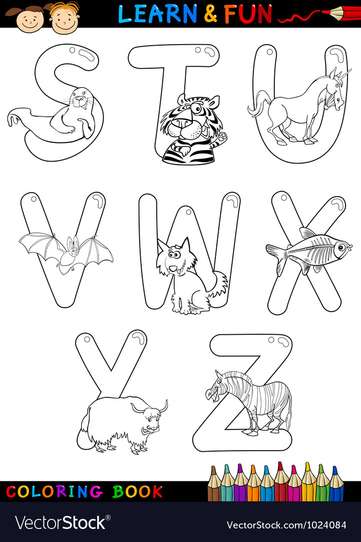 Cartoon alphabet with animals for coloring vector | Price: 1 Credit (USD $1)