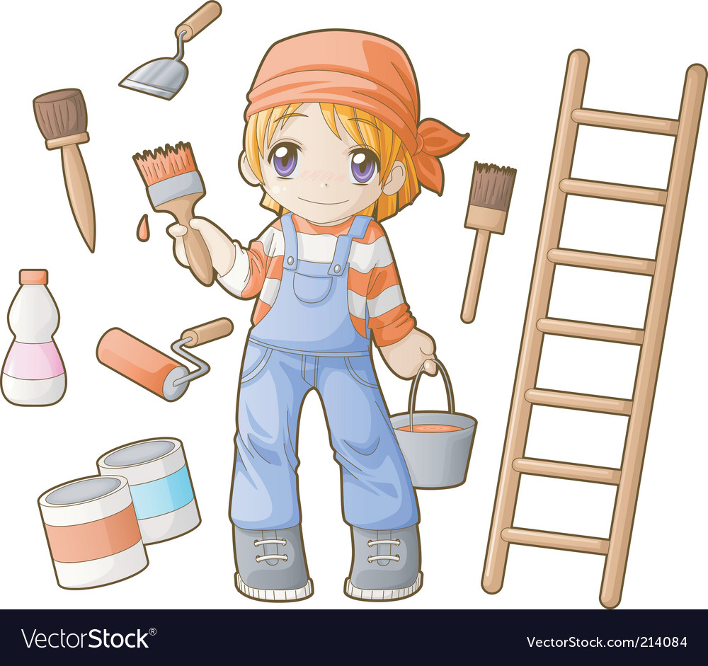 Chibi professions sets painter vector | Price: 3 Credit (USD $3)