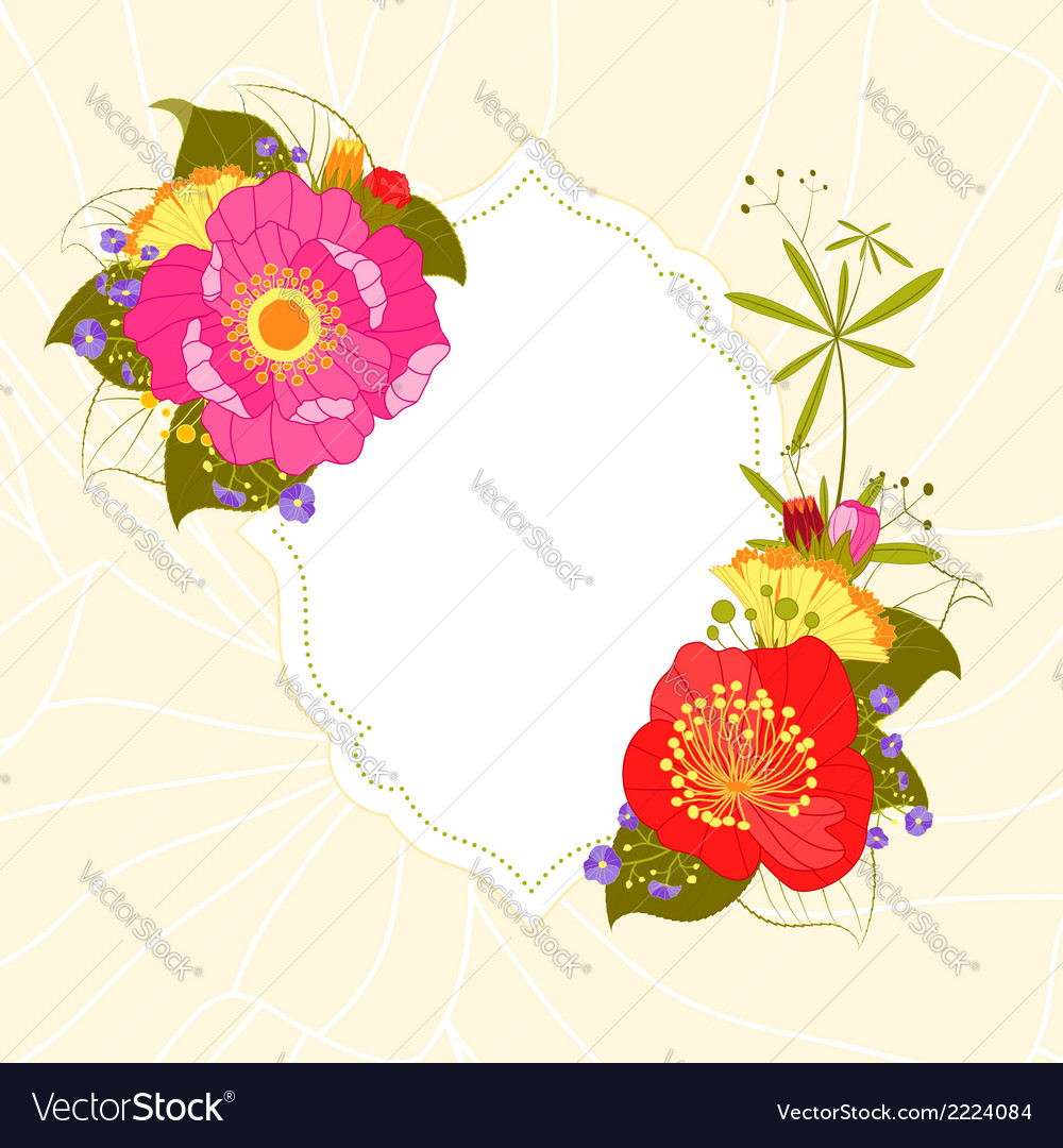 Colorful flower garden party invitation vector | Price: 1 Credit (USD $1)