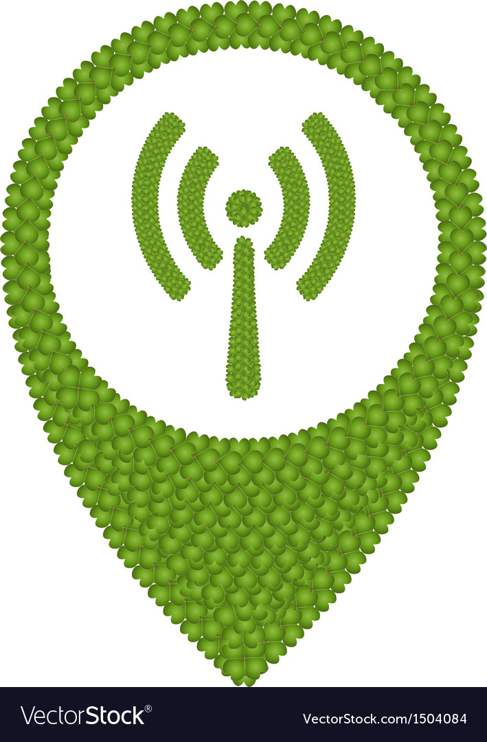 Green clover of wireless sign in navication icon vector | Price: 1 Credit (USD $1)