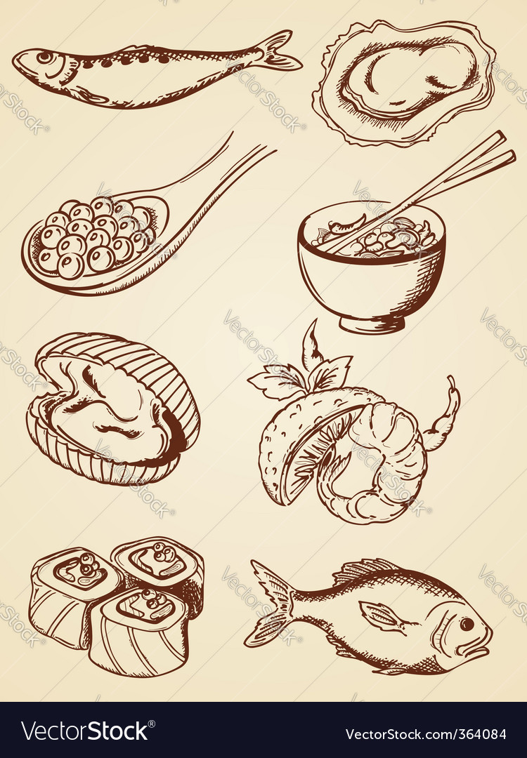 Hand drawn vintage seafood vector | Price: 1 Credit (USD $1)