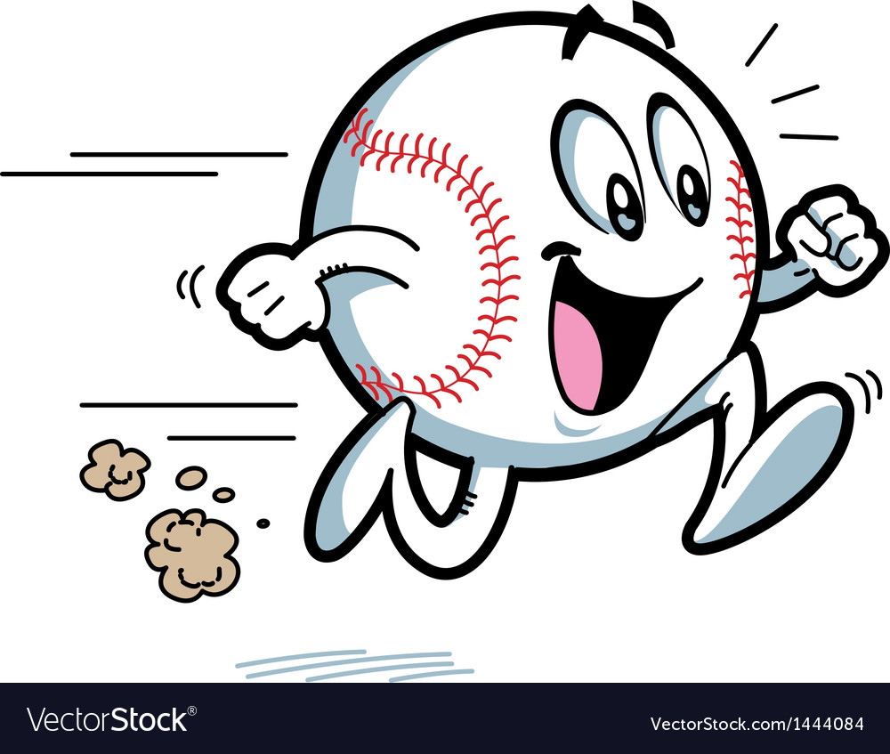 Happy running baseball vector | Price: 1 Credit (USD $1)