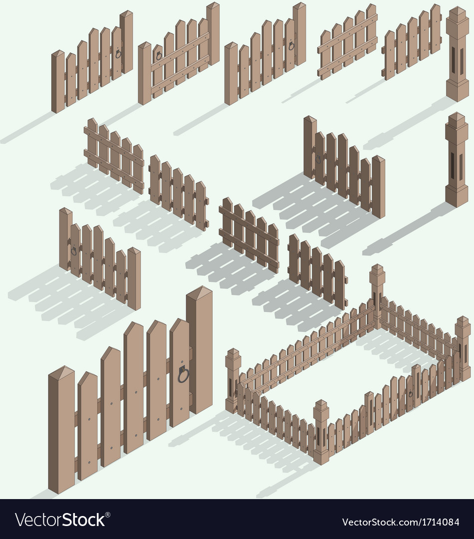Isometric fence vector | Price: 1 Credit (USD $1)