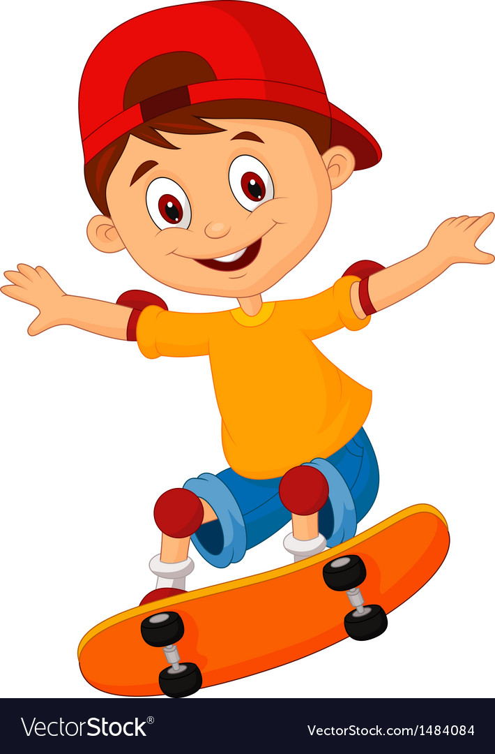 Little boy cartoon skateboarding vector | Price: 1 Credit (USD $1)