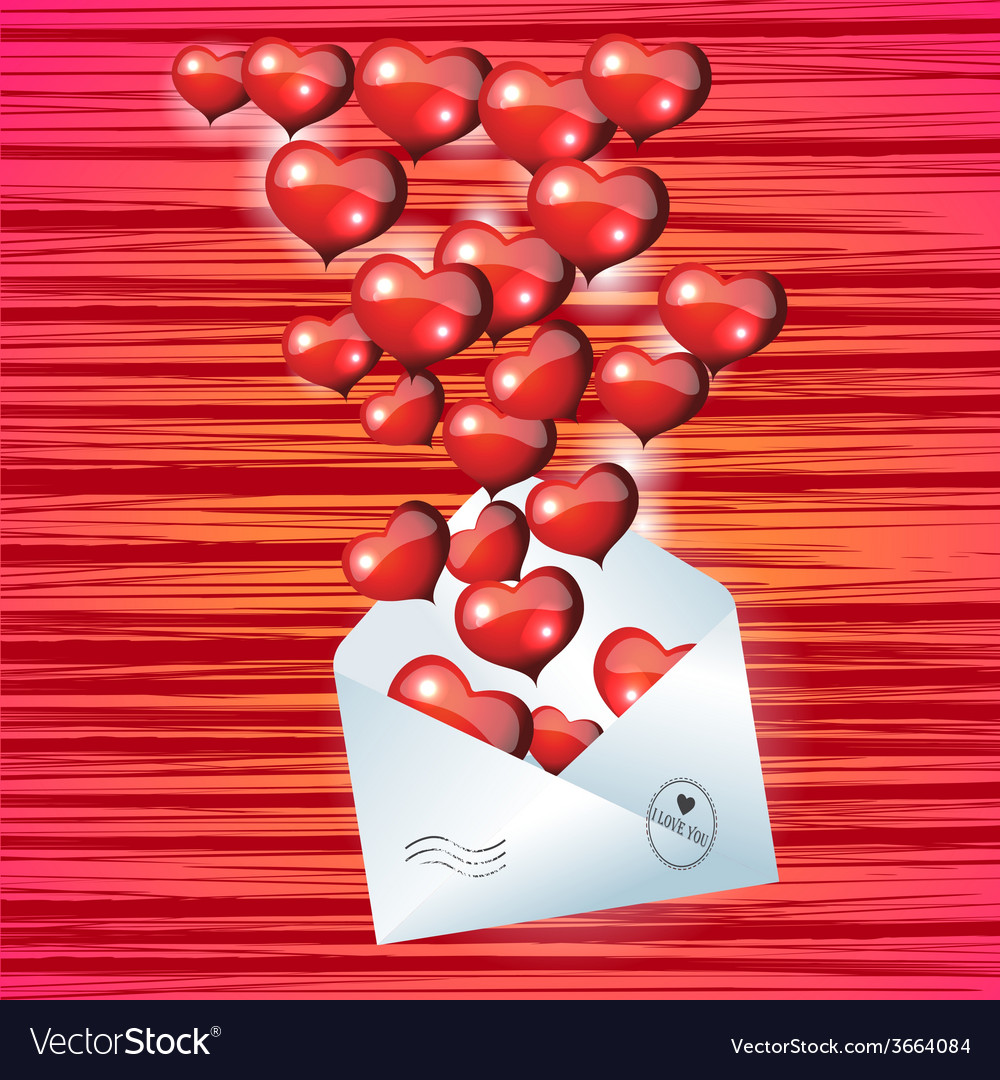 Open envelope with red heart on valentines day vector | Price: 1 Credit (USD $1)
