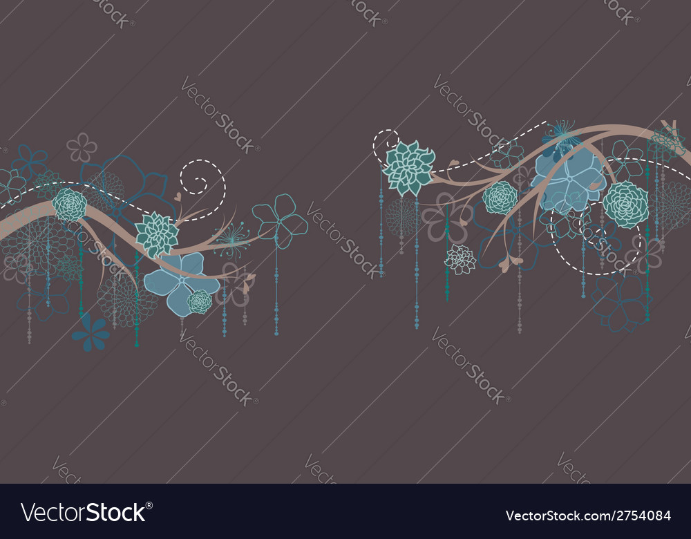 Panorama with branches and flowers vector | Price: 1 Credit (USD $1)