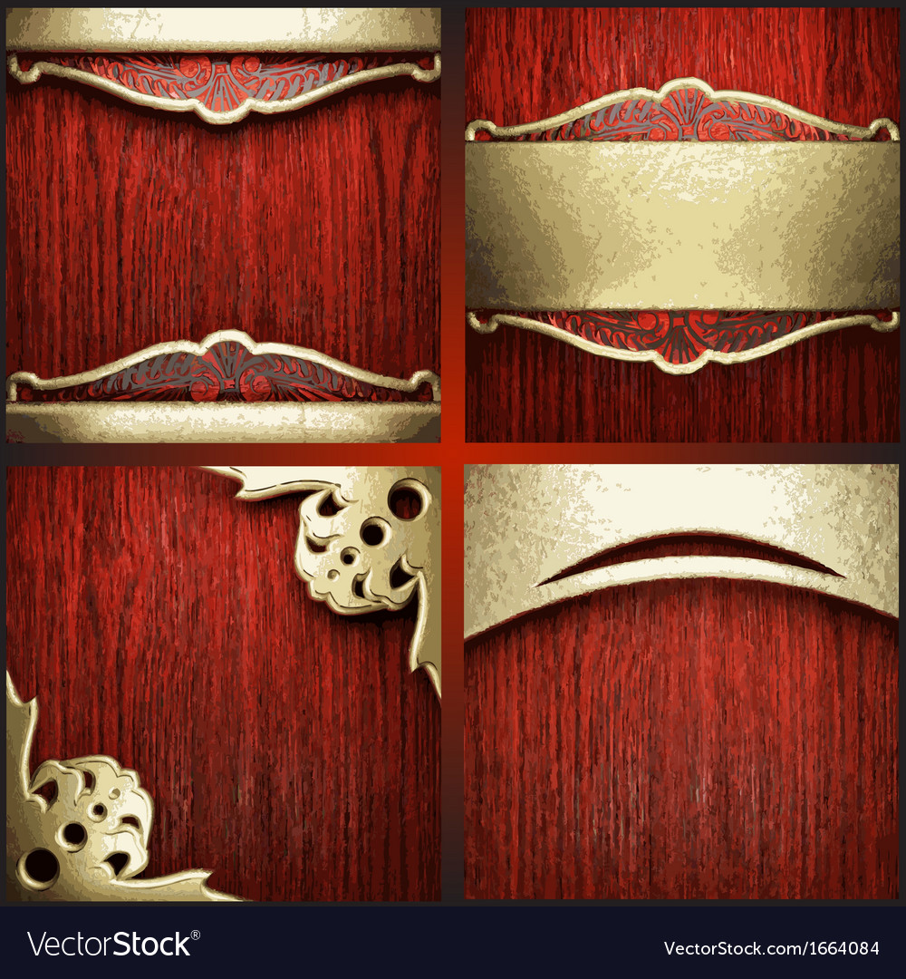 Red wood and gold background set vector | Price: 1 Credit (USD $1)