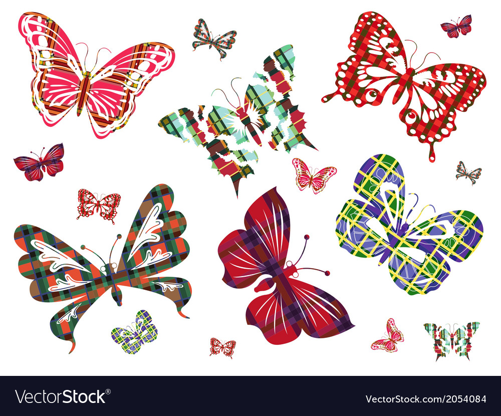 Six different butterflies with celtic ornament vector | Price: 1 Credit (USD $1)
