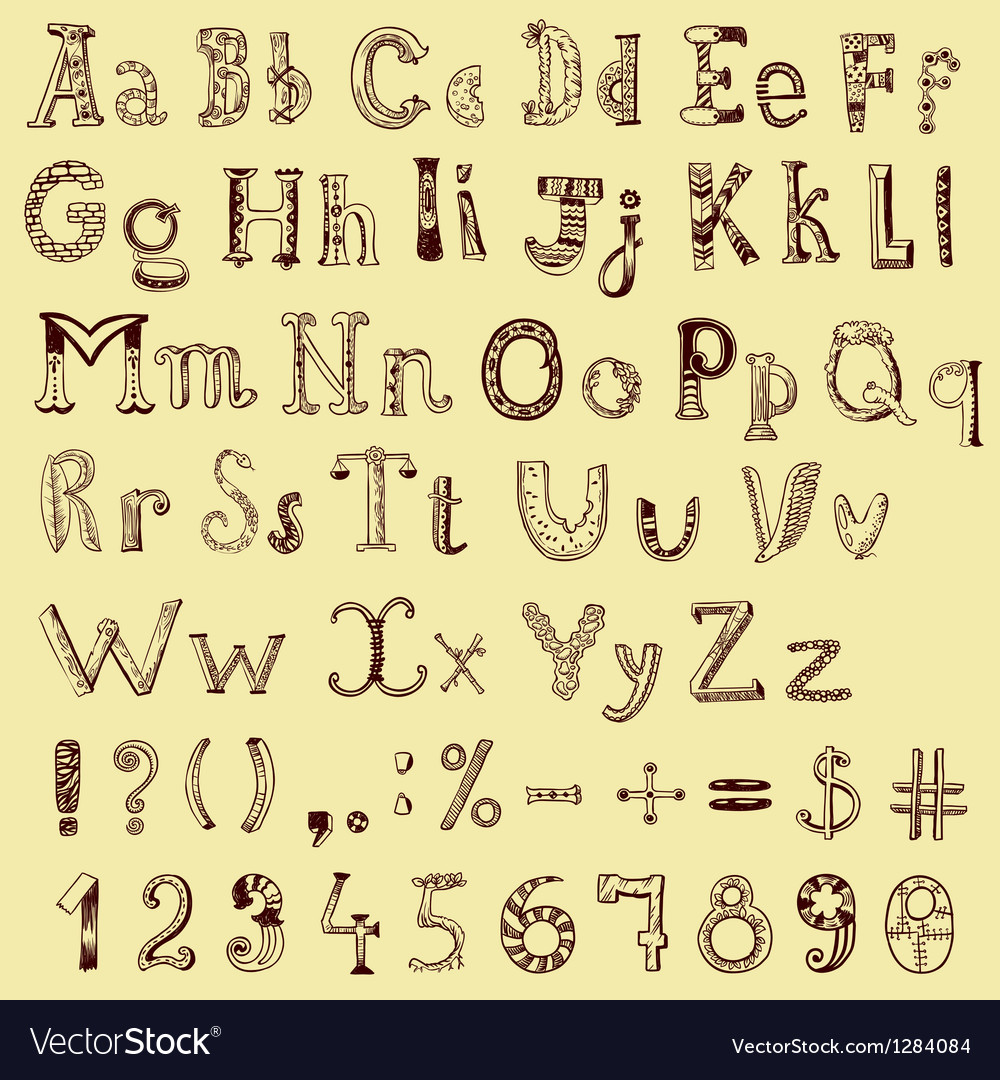 Sketching alphabet vector | Price: 1 Credit (USD $1)