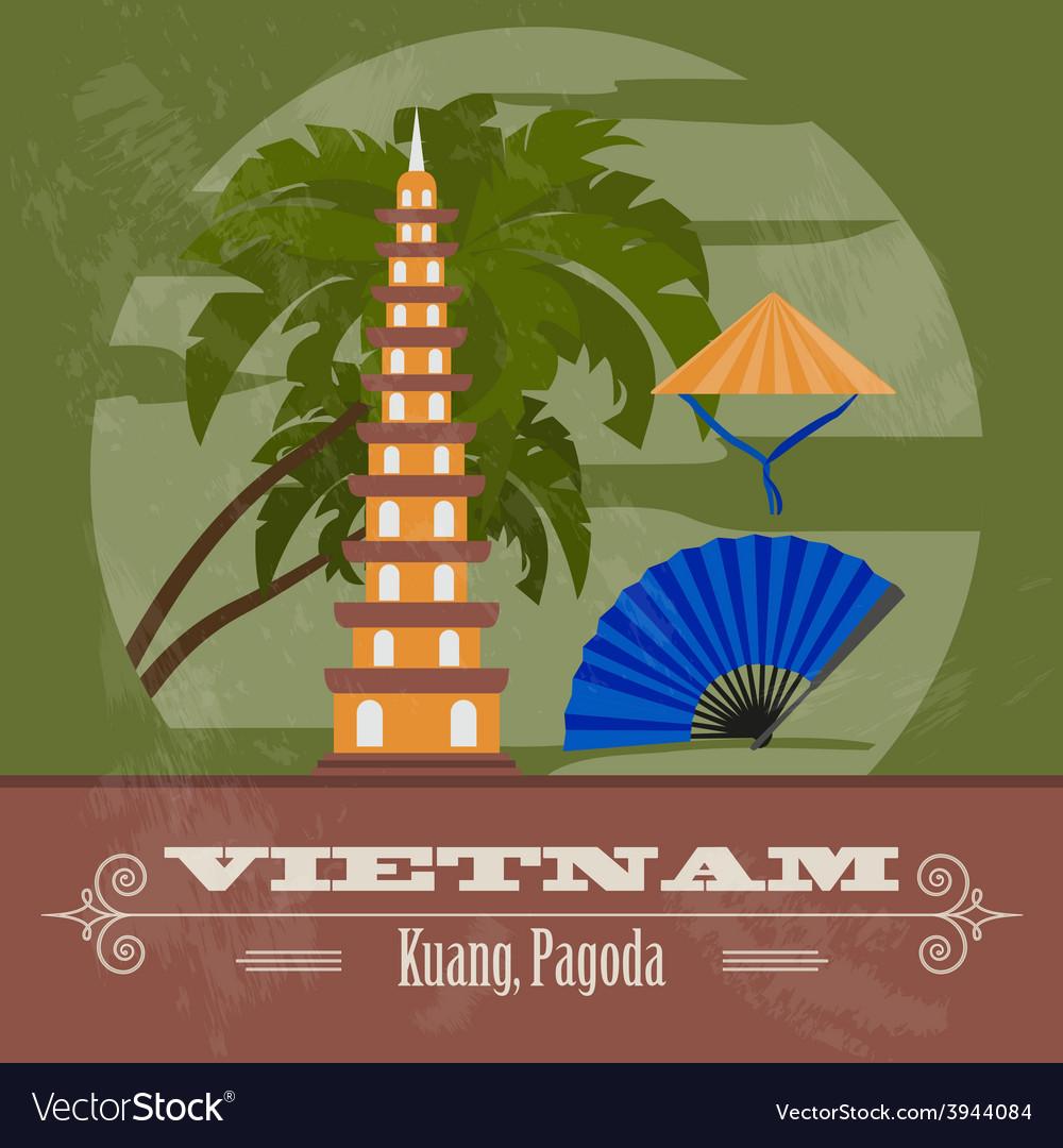 Vietnam landmarks retro styled image vector | Price: 1 Credit (USD $1)