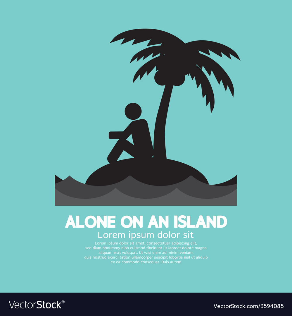 Alone on an island black symbol vector | Price: 1 Credit (USD $1)