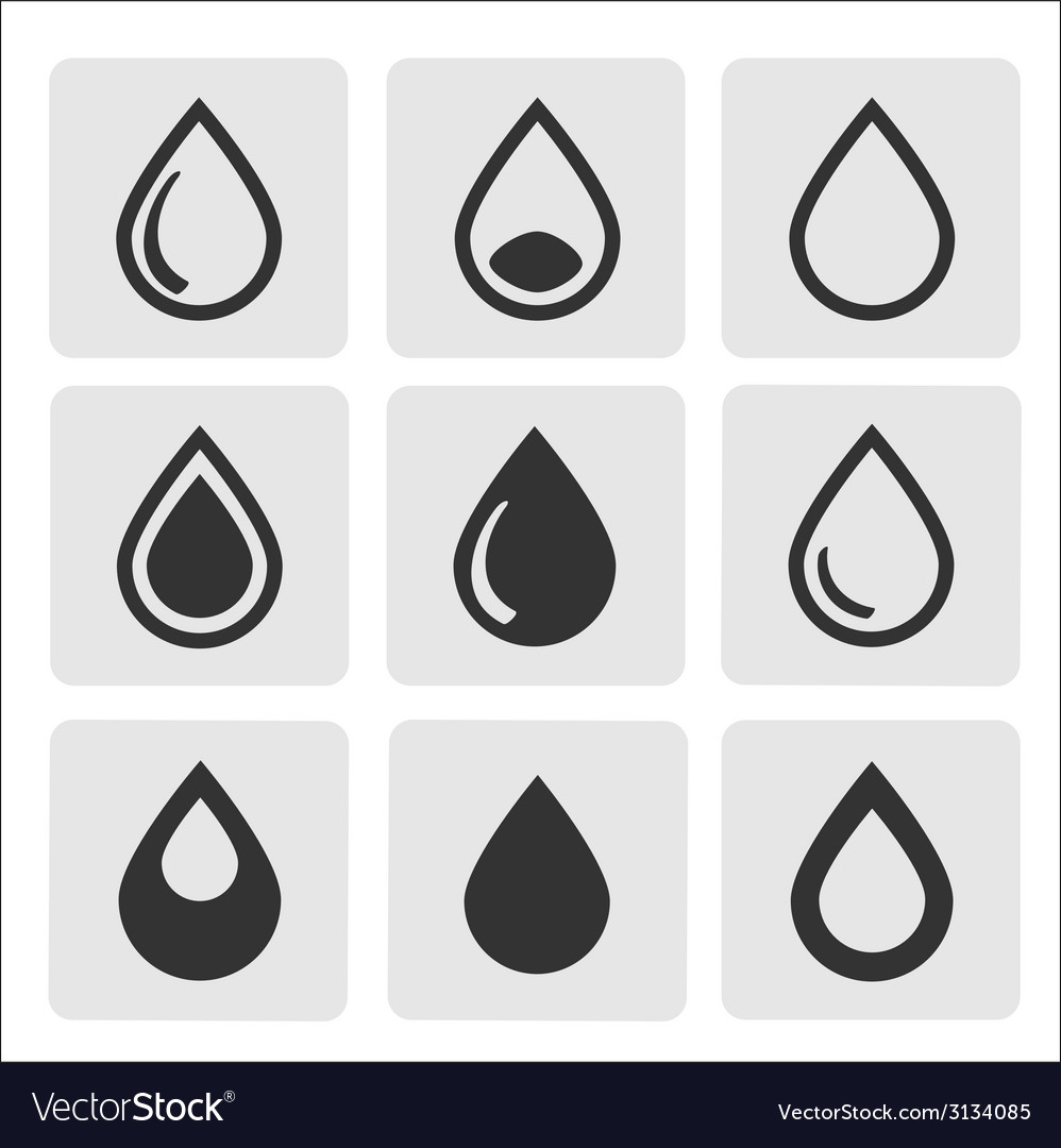 Black drop icons vector