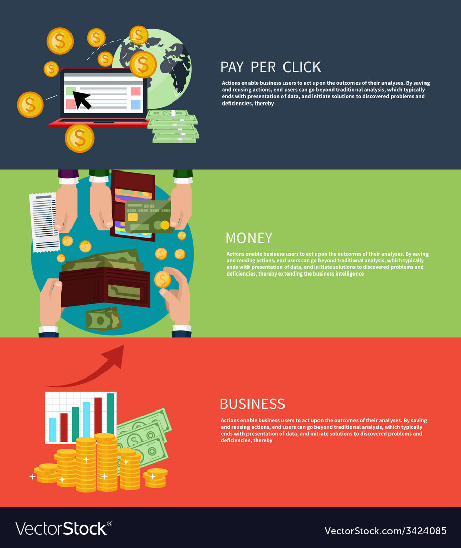 Business money and pay per click vector | Price: 1 Credit (USD $1)