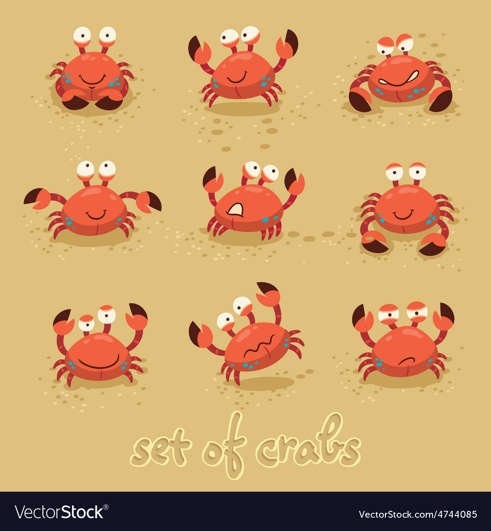 Cute crabs funny characters summer beach vector | Price: 1 Credit (USD $1)