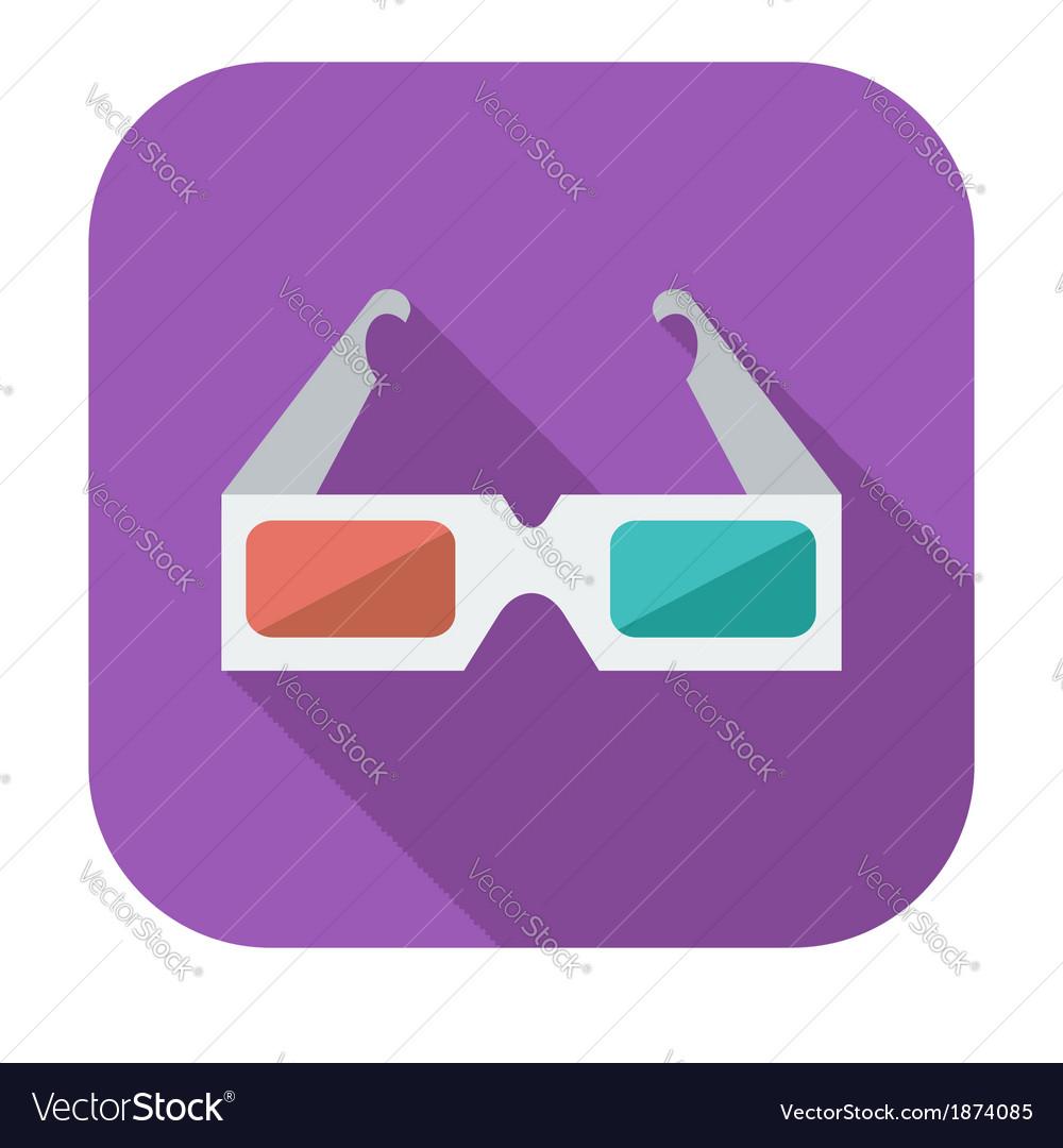Glasses 3d single icon vector | Price: 1 Credit (USD $1)