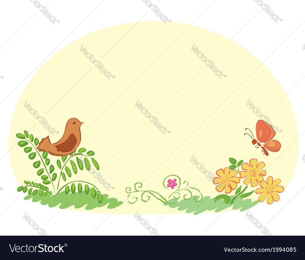 Light yellow background with flora and fauna vector | Price: 1 Credit (USD $1)