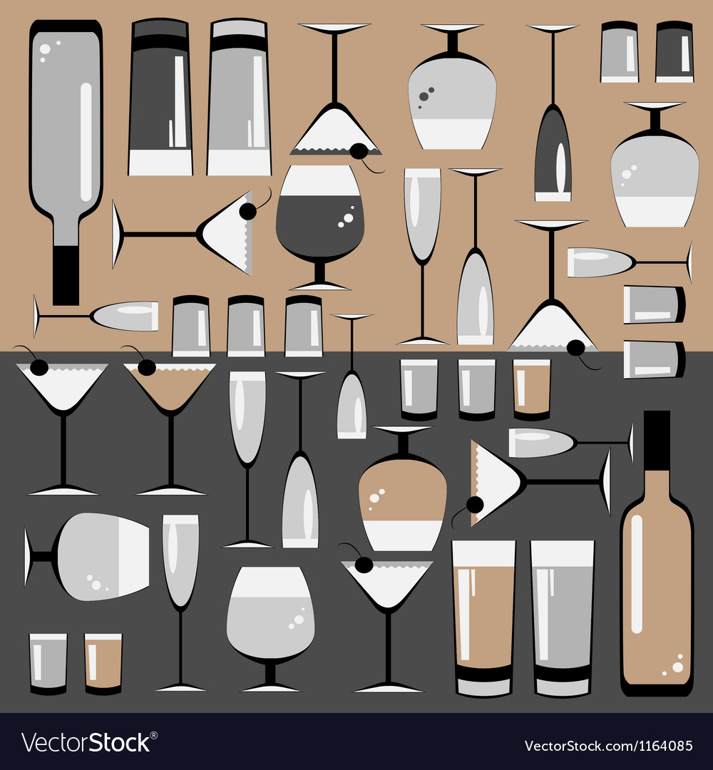 Pattern of the glasses and bottles of wine vector | Price: 1 Credit (USD $1)