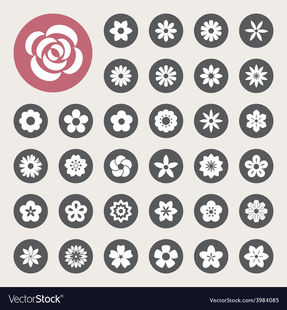 Set of flower icons vector | Price: 1 Credit (USD $1)