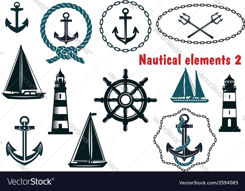Set of nautical heraldry themed elements vector | Price: 1 Credit (USD $1)