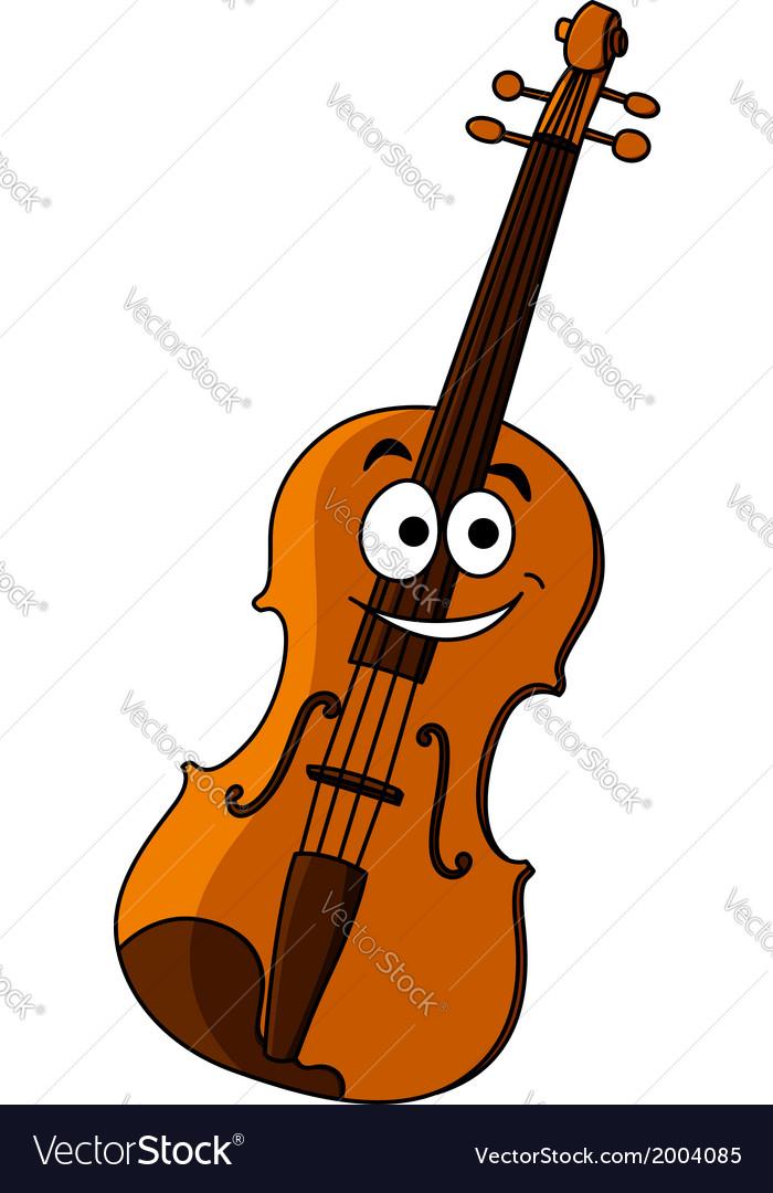 Smiling happy wooden violin vector   Price: 1 Credit (USD $1)