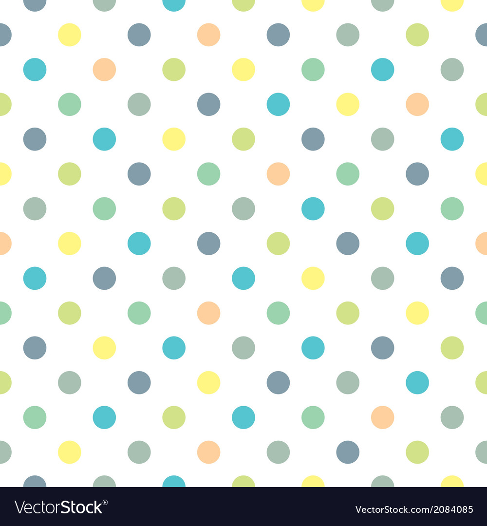Tile green blue yellow polka dots white background vector | Price: 1 Credit (USD $1)