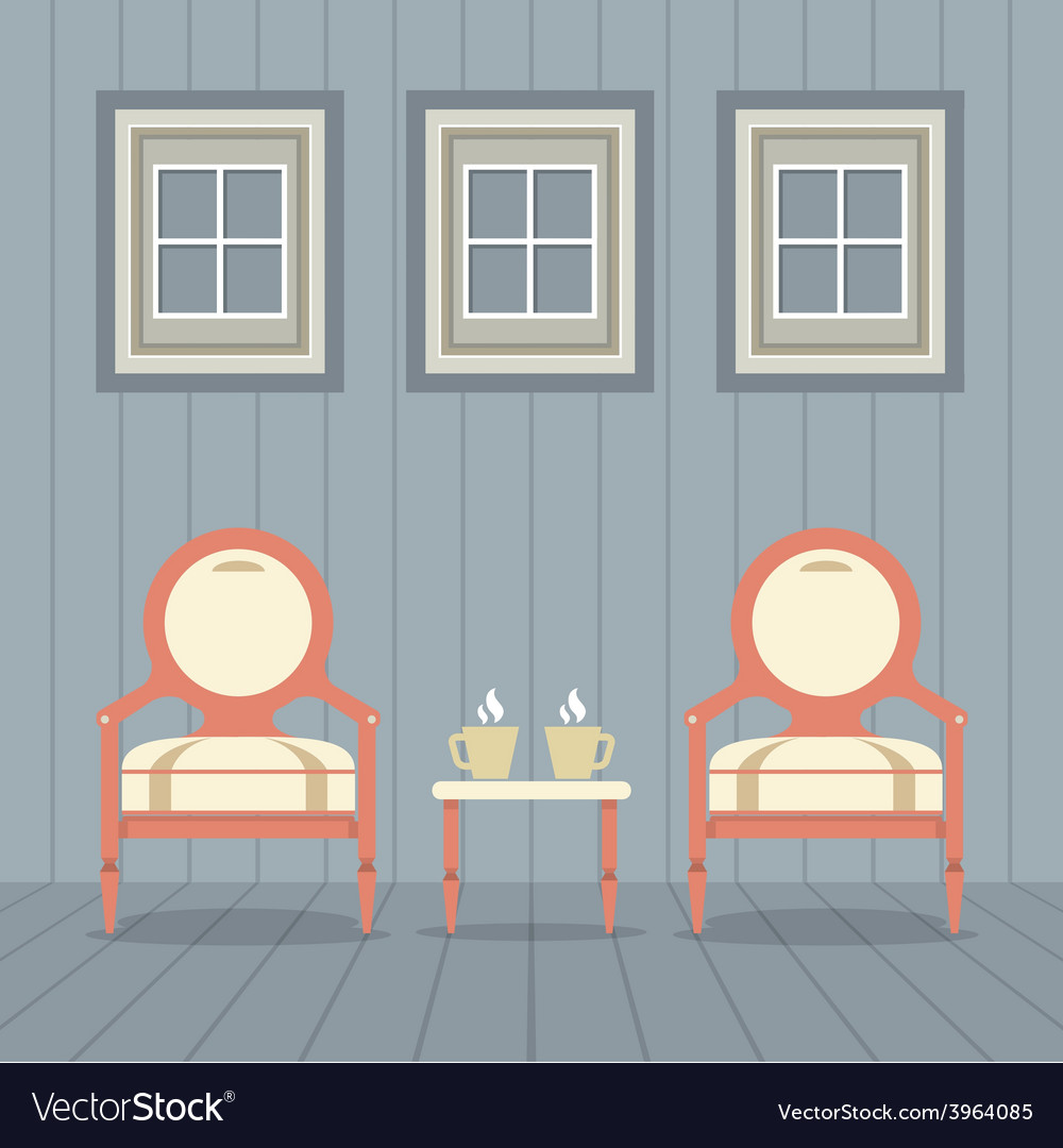 Vintage chairs set with coffee cup under three vector | Price: 1 Credit (USD $1)