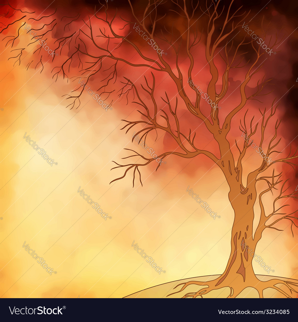 Watercolor painting autumn tree vector | Price: 1 Credit (USD $1)