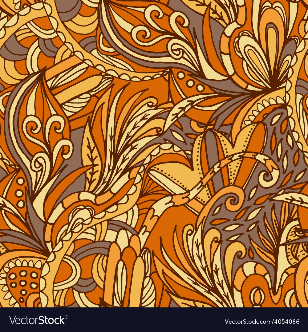 Abstract hand-drawn wave floral pattern vector   Price: 1 Credit (USD $1)
