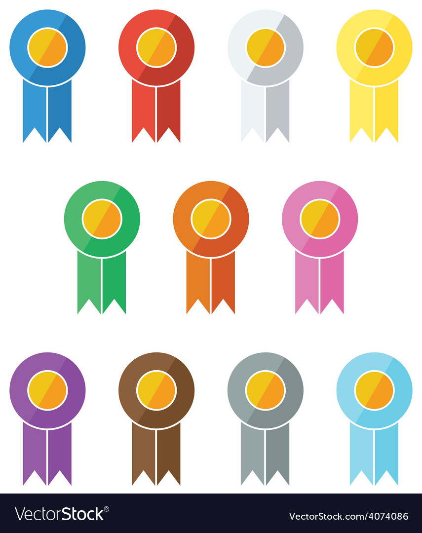 Award-prize ribbons in flat ui design style vector | Price: 1 Credit (USD $1)