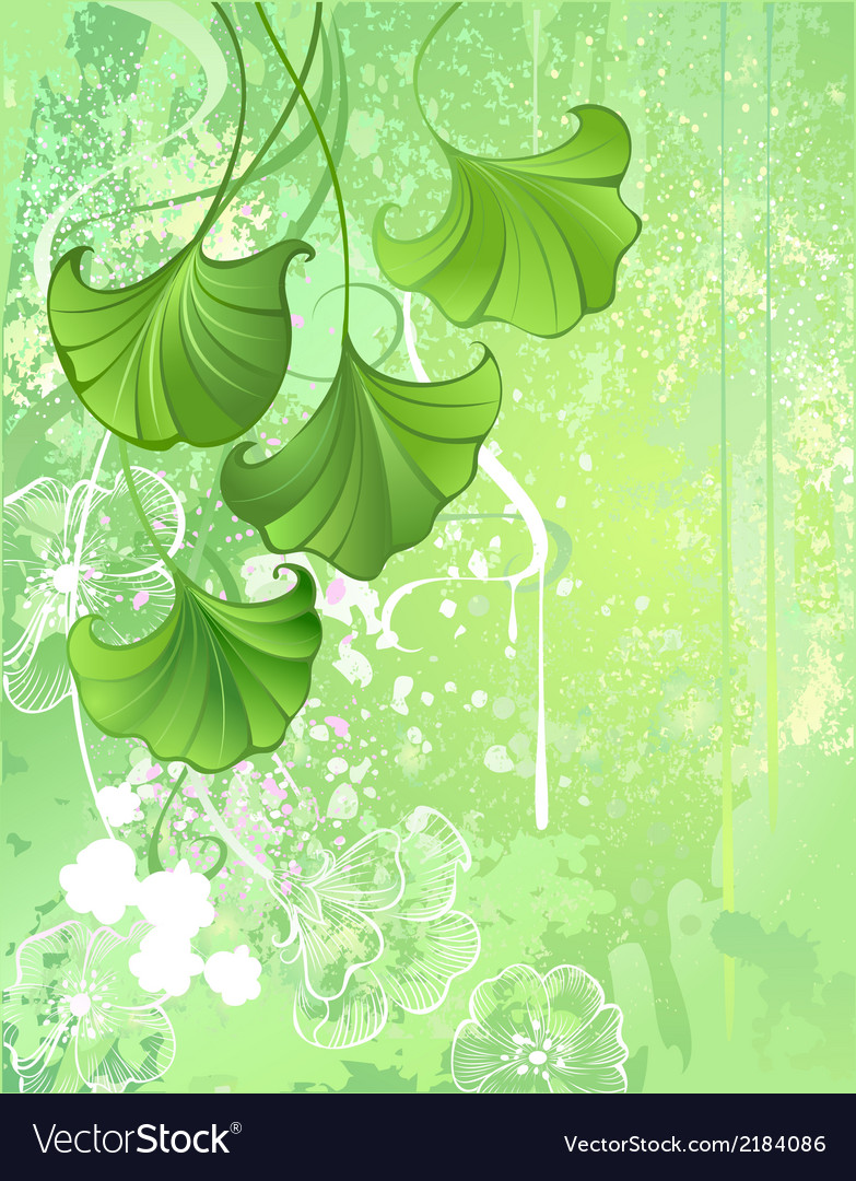 Background with spring green leaves vector | Price: 1 Credit (USD $1)