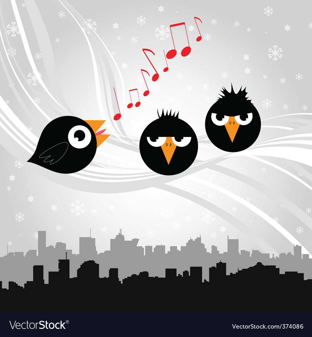Birds singing vector | Price: 1 Credit (USD $1)