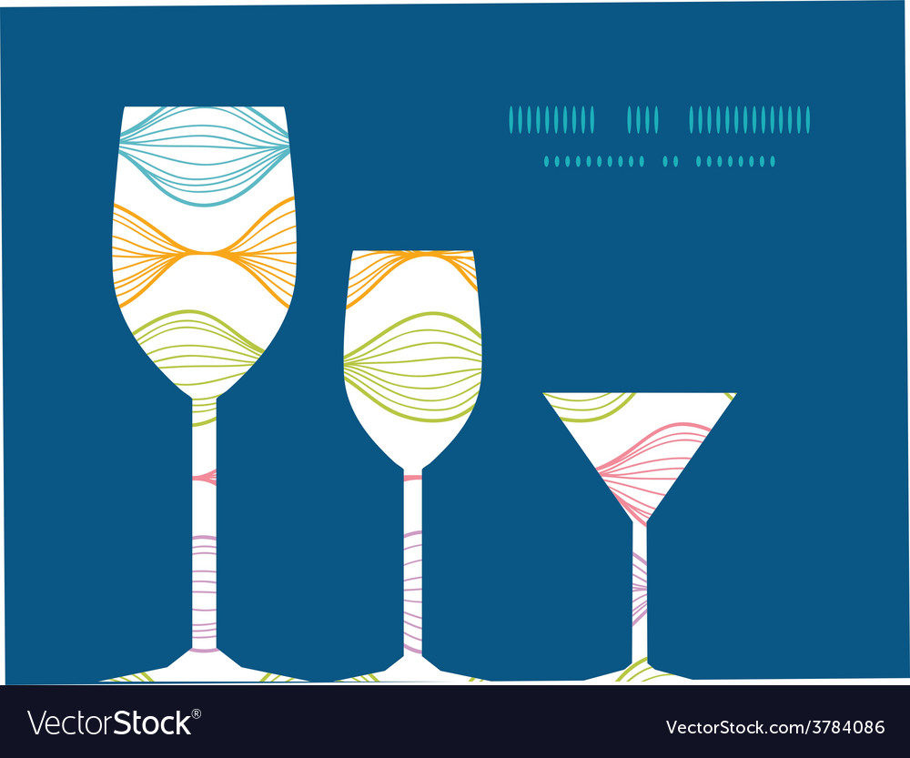 Colorful horizontal ogee three wine glasses vector | Price: 1 Credit (USD $1)