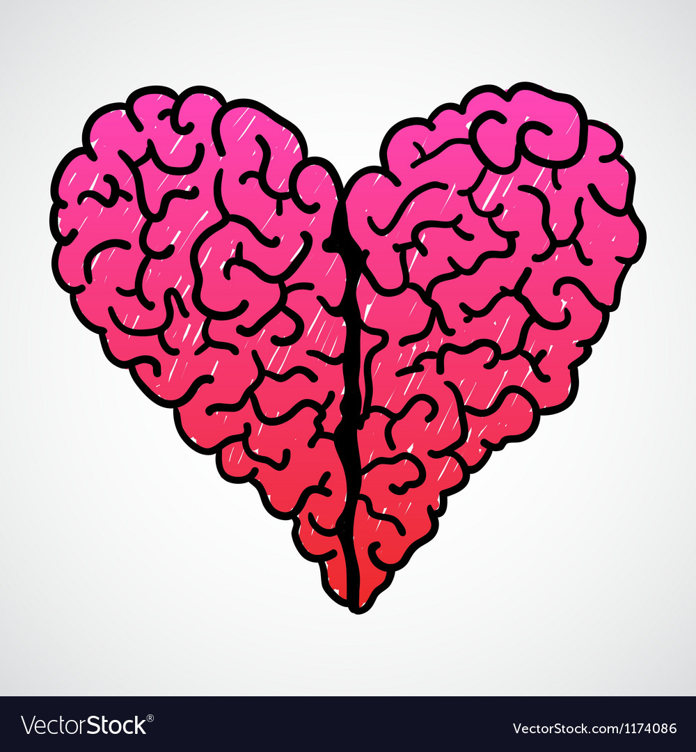 Doodle brain heart vector | Price: 1 Credit (USD $1)