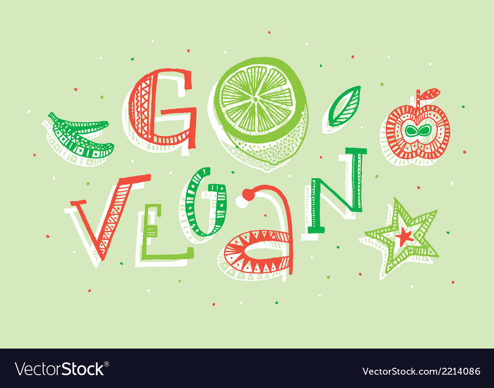 Go vegan vector | Price: 1 Credit (USD $1)