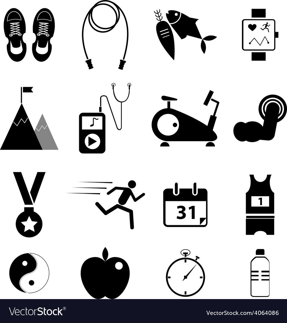 Health and fitness icons vector | Price: 1 Credit (USD $1)
