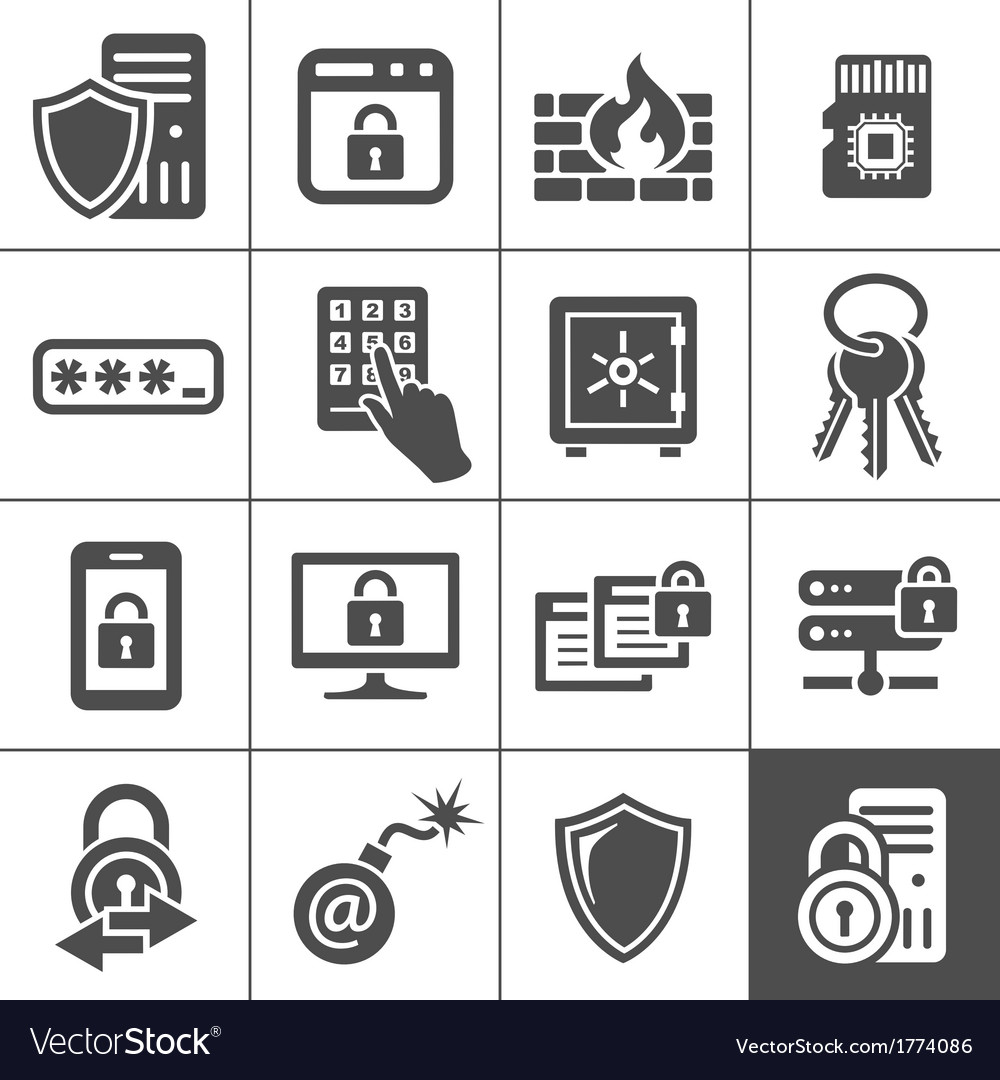 It security icons simplus series vector | Price: 1 Credit (USD $1)
