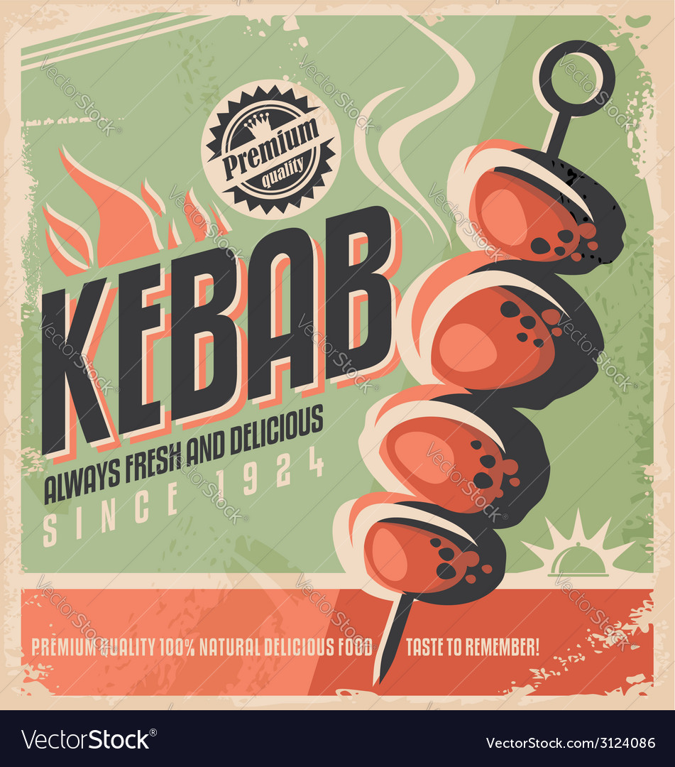 Kebab retro poster vector | Price: 1 Credit (USD $1)