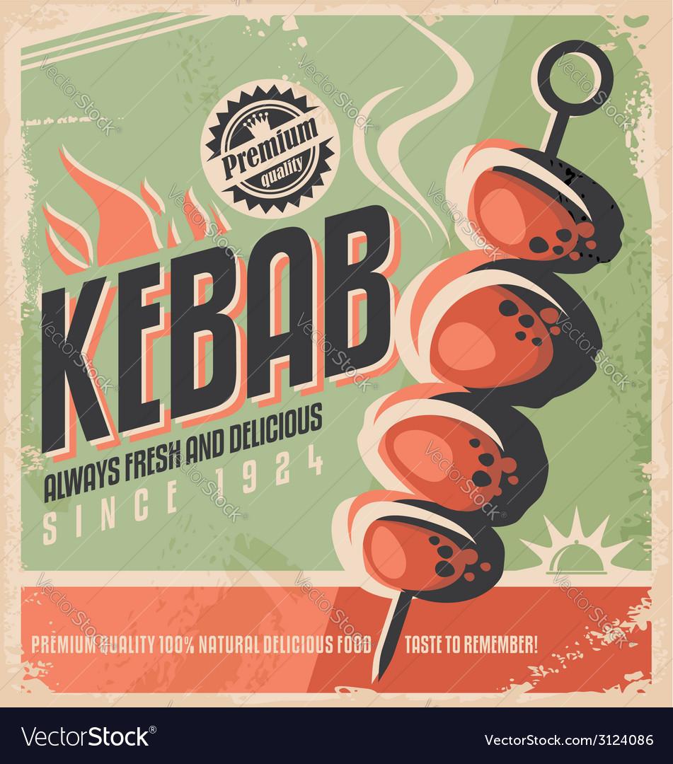Kebab retro poster vector | Price: 1 Credit (USD $1)