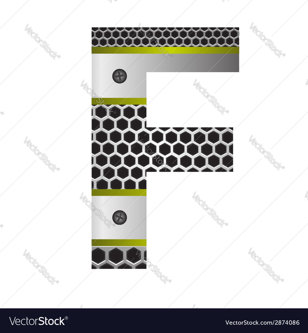 Perforated metal letter f vector | Price: 1 Credit (USD $1)