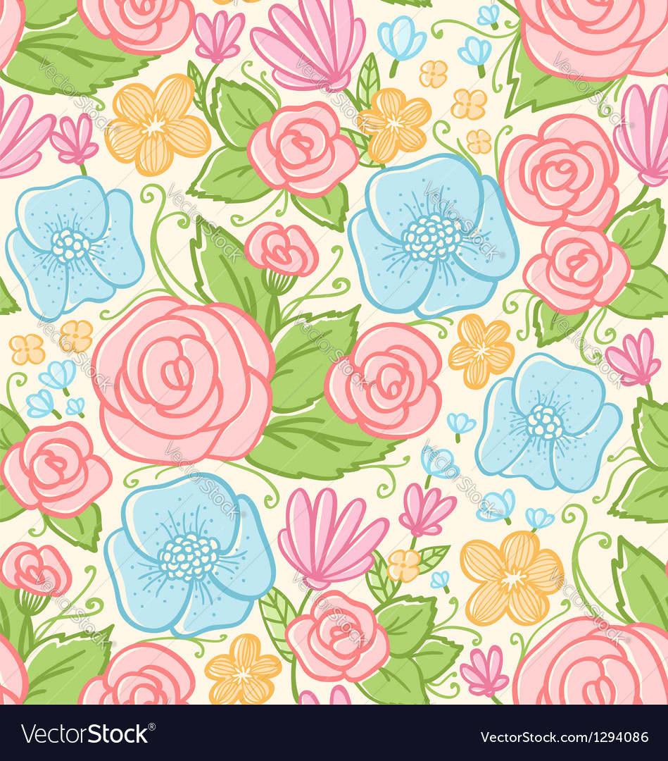 Roses and violets pattern vector | Price: 1 Credit (USD $1)