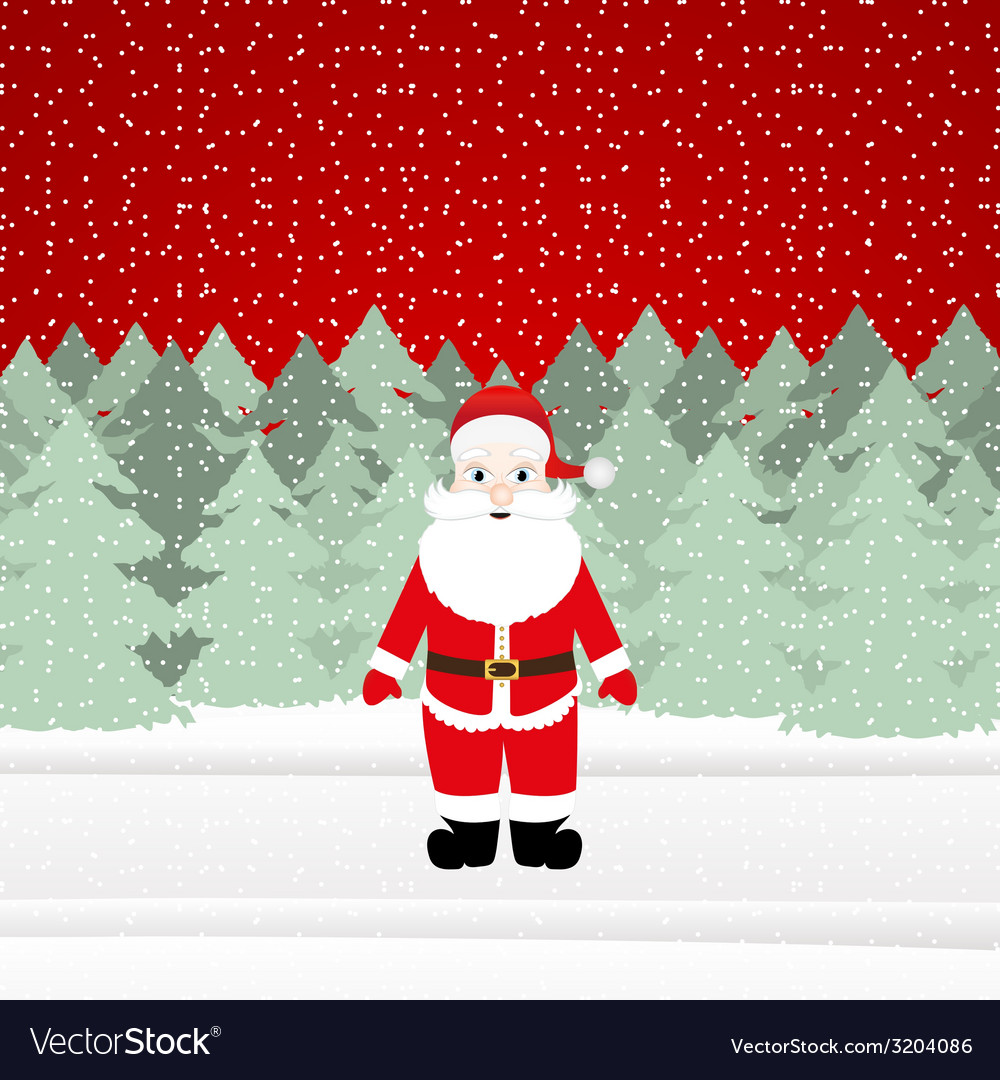 Santa claus in a christmas forest vector | Price: 1 Credit (USD $1)