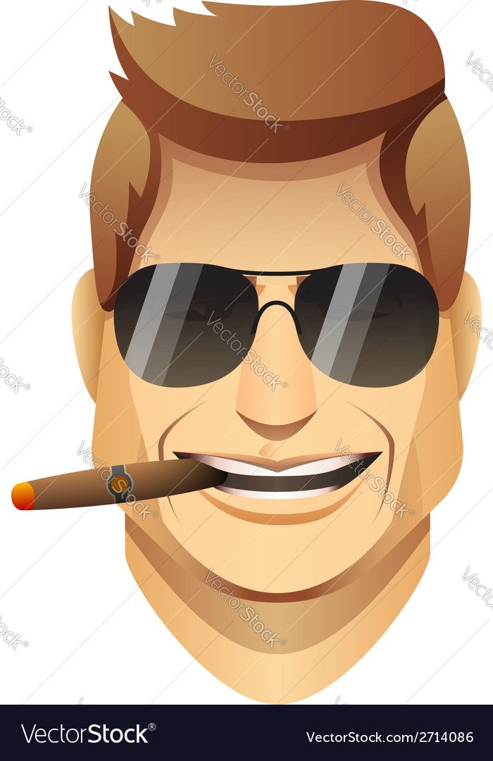 Smiling male faces with sunglasses and cigar vector | Price: 1 Credit (USD $1)